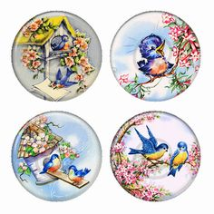 Happy Bluebirds Magnets or Pinback Buttons or Flatback Medallions Set of 4 You will receive a set of 4 pinback buttons or flatback