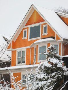 Solve orange jigsaw puzzle online with 48 pieces Orange Wallpaper, Orange House, Orange Aesthetic, Orange You Glad, Winter Colors, Winter Scenery, Orange Is The New Black, Winter House, Happy Colors