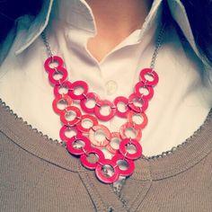 Collana di Rondelle di ferro colorate con lo smalto #accessories #necklace #DIY Community, Crafty, Jewelry, Fashion, Iron, Moda, Jewlery, Bijoux, La Mode