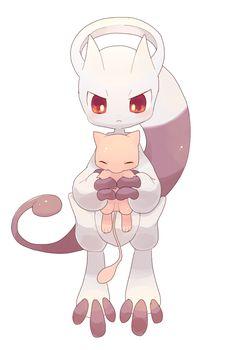 Mew and Mega Mewtwo Y