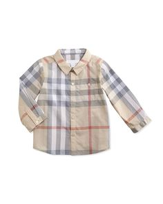 Trauls Check Button-Down Shirt, 3-24 Months, Size: 3 Months, Pale Classis Chec - Burberry