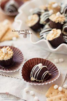 S'more Truffles - dark chocolate filled with white chocolate s'more fudge