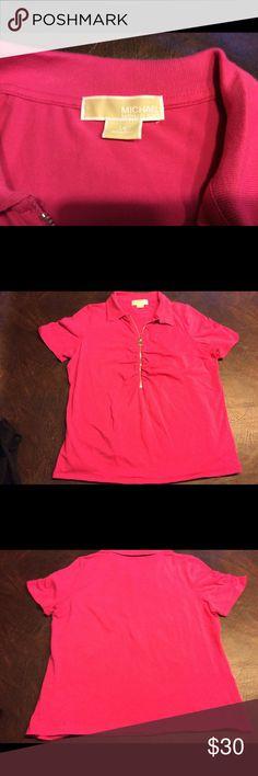 MICHEAL KORS top sz 1 X Short sleeve shirt with a collar and a zippered front #1011 MICHAEL Michael Kors Tops Tees - Short Sleeve