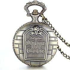 "JewelryWe Retro Bronze Tim Burton's Nightmare before Christmas Engraved Quartz Pocket Watch Necklace Locket Pendant 31"" Chain (with Gift Bag)"