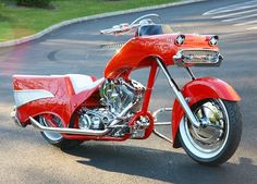 STRANGE 1957 CHEVY MOTORCYCLE - FROM FRONT HOOD TO HIGH FIN TAILLIGHTS!  AMAZING!