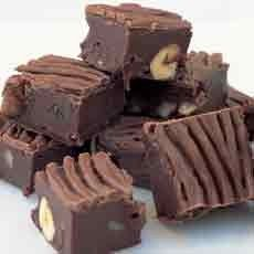 Chocolate Fudge with Roasted Nuts and Raisins