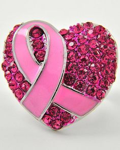 Silver Tone / Hot Pink Rhinestone / Pink Epoxy / Heart & Pink Ribbon Design / Stretch Ring