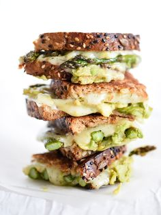 Spicy Smashed Avocado & Asparagus with Dill Havarti Grilled Cheese - foodiecrush