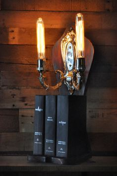 Steam Punk Desk Lamp Fantasy Gothic Twilight Book Light  with Secret Magic Swtich. $259.00, via Etsy.