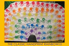 Tons of handprint projects here! From Rainbows Within Reach #Poems #Handprints #Art #Toddlers