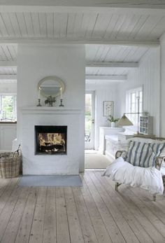 Where to use the white brick wall? 43 Ideas fot Styling Your House With White Brick Walls French Country Living Room, Living Room White, White Rooms, Country Bedrooms, Modern Country, Living Rooms, Floor Design, House Design, Farmhouse Flooring