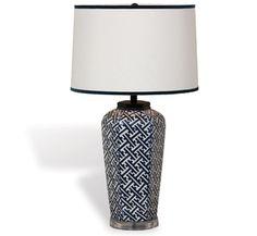 Blue Ribbon Trim Trellis Lamp