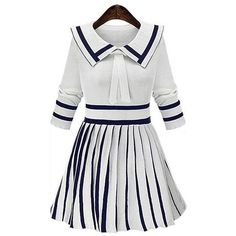 Yoins Yoins White Doll Collar Stripe Pleated Knitted Dress ($21) ❤ liked on Polyvore featuring dresses, white, collar dress, babydoll dress, three quarter sleeve dress, white 3/4 sleeve dress and white striped dress