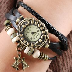 Handmade Vintage Quartz Weave Around Leather Bracelet Lady