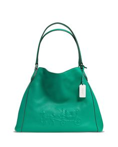 COACH Embossed Horse and Carriage Edie Shoulder Bag in Pebbled Leather | Bloomingdale's