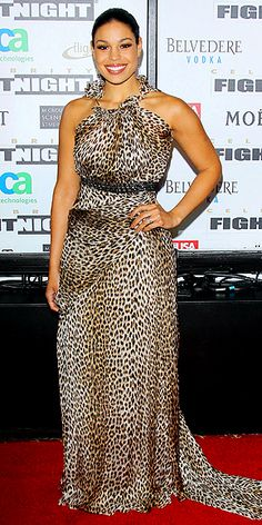 Jordin Sparks blends wild style with pure elegance in a ruffled halter leopard print gown by designer Kevan Hall.