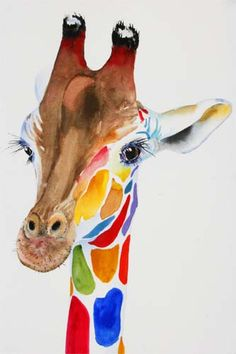 giraffes colored with watercolor - Buscar con Google