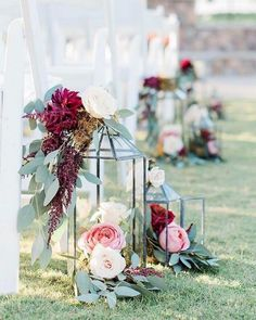 blush and burgundy lantern wedding ceremony aisle decor 9 wedding wedding ceremonies weddingcolors weddingideas deerpearlflowers Wedding Aisle Outdoor, Wedding Aisle Decorations, Wedding Lanterns, Wedding Table Centerpieces, Wedding Ceremony, Outdoor Wedding Flowers, Centerpiece Ideas, Reception, Tree Wedding