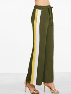 Olive Green Side Striped Wide Leg Sweatpants