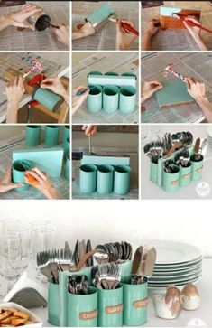 Creative Tin Storage - Why waste those tins by throwing them away? Repurpose them into a decorative holder for cutlery. What you will need: six tins, paint, paint brush, hammer, nails, small wooden slab and a leather handle.