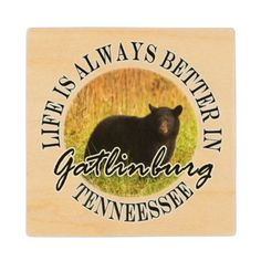 Funny Life Is Always Better In Gatlinburg Tennesse Wood Coaster Life is always better in Gatlinburg, Tennessee, gateway to the great Smoky Mountains National Park. This funny souvenir logo style design features landscape nature travel photography of a black bear animal in the foreground and fall grasses in the background. Great gift for a wildlife lover, hiker, park or smokies lover.