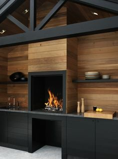 Contemporary fireplace surround ideas wood fireplace surround open shelves