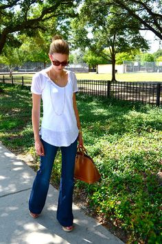 Could be CAbi Classic: eliza blouse and farrah Jeans
