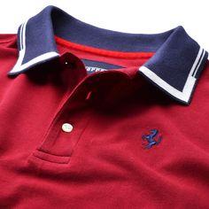Ferrari Shop - Abbigliamento e merchandising Polo Shirt Style, Polo Shirt Design, Polo Rugby Shirt, Polo T Shirts, Camisa Polo, Printed Polo Shirts, Winter Fashion Outfits, Vintage Shirts, Men's T Shirts