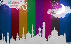 Nice silhouette. Make an ancient  city for Ramadan, Eid craft .  Use paint, paper stirps or paint swatches for the background.