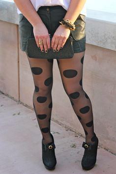 Black leather shorts paired with large black polka dot tights from kate spade? LOVE!