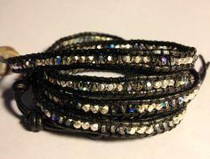 Swarovski crystals & silver on gunmetal leather