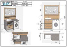Aménager une salle de bain de 4m² qui comprend un lave-linge ? Nous avons relevé le défi en créant un meuble sur-mesure en béton ciré !
