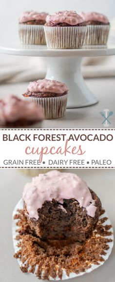 These grain free paleo black forest avocado cupcakes are naturally sweetened and SO delicious. A perfect healthy treat with big cocoa and black cherry flavor. via These grain free pa Paleo Baking, Gluten Free Baking, Gluten Free Desserts, Healthy Sweet Snacks, Healthy Desserts, Sweet Treats, Healthy Eating, Cupcake Recipes, Cupcake Cakes