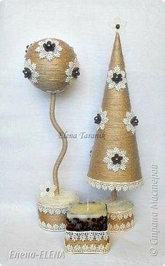 Бонсай топиарий ёлка Новый год Рождество Моделирование конструирование Елочки Бусины Кофе Кружево Шпагат фото 5