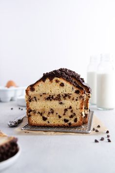 Chocolate Chip Cookie Dough-Stuffed Pound Cake Recipe — layers upon layers of chocolate chip-vanilla pound cake, edible cookie dough and chocolate ganache take this decadent. Chocolate Chip Pound Cake, Chocolate Chip Cookie Dough, Decadent Chocolate, Chocolate Ganache, Chocolate Chips, Chocolate Recipes, Brownies, Edible Cookies, Kinds Of Desserts