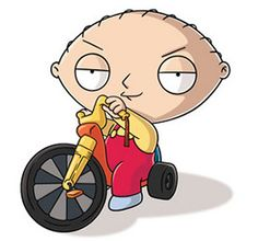 Stewie Griffin is awesome! Plus, he looks so cute when he's riding his bike!