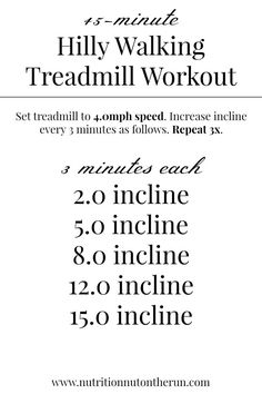 45-minute Hilly Walking Treadmill Workout