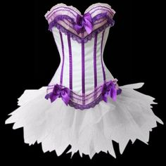 Loi.color White Purple Satin Corset Busiter with Padded Cup Corset Lingerie Set with tutu Skirt L Loi.color http://smile.amazon.com/dp/B00EDQAAY8/ref=cm_sw_r_pi_dp_y6YRtb0E067J307T
