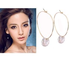 Women 925 Silver Plated Crystal Rhinestone Ear Stud Earrings Jewelry Fashion #UnbrandedGeneric #DropDangle