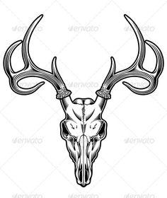 Deer Skull Vector — JPG Image #skeleton #skull • Available here → https://graphicriver.net/item/deer-skull-vector/5292297?ref=pxcr