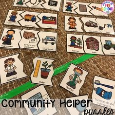 Community Helper themed activities and centers for preschool, pre-k, and kindergarten. Plus FREE community signs. Great to do with the book Jobs of a Preschooler. Community Helpers Activities, Community Helpers Kindergarten, Kindergarten Activities, Space Activities, Community Helpers Art, Preschool Teachers, Leadership Activities, Montessori Activities, Group Activities