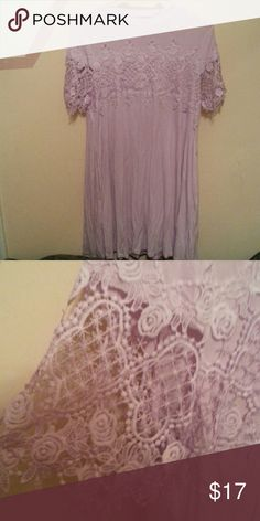 Light light purple dress(please read) light purple dress, almost sheer,not lined, waist fits like a large but the lace arms run small,NWOT, Firm Price or make me a offer no lower then 11 Andree Dresses Mini