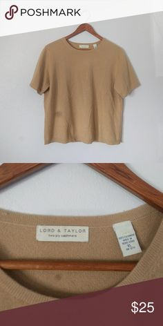 100% cashmere sweater Pure cashmere short sleeve sweater. Slightly cropped after washing and drying. Perfect to pair with jeans and boots for a fall outfit! In excellent condition. Best fits L/XL Lord & Taylor Sweaters