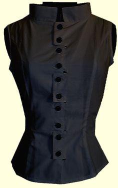 Black Cotton Mod Collar Blouse