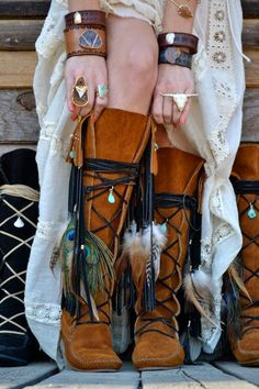 Upcycled Embellished Vintage Moccasin Fringe Boot, looking wild