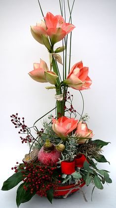 "Blumengroßhandel Ritzka: Floristry ""Amaryllis Variations"" The magnificent flowers . New Years Decorations, Christmas Decorations, Holiday Decor, Christmas Flowers, Red Christmas, Christmas Arrangements, Floral Arrangements, Deco Floral, Floral Design"