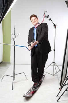 2012 Class. To create the illusion that Robert Thayer, VP of marketing for Tri-North Builders, was actually water skiing, we levitated his tie with clear twine.
