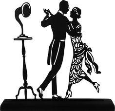 1920's Dancing Couple Handmade Display Wood Silhouette Decoration  scpl018. $30.80, via Etsy.