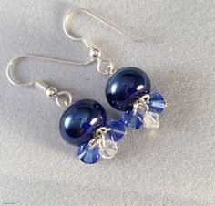 Blue Lampwork Glass Earrings with Swarovski Crystals, Blue Glass Earrings, Glass and Crystal Earrings by ASplashOGlass on Etsy