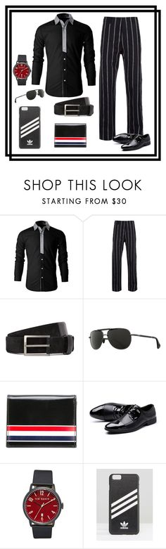 """""""Earn His Stripes"""" by runners ❤ liked on Polyvore featuring Uma Wang, Lanvin, Zeal, Thom Browne, Ted Baker, adidas Originals, men's fashion and menswear"""